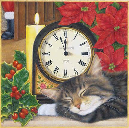 Кот с часами вышивка